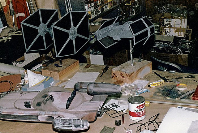 Working on the landspeeder, TIE fighter and Vader's TIE fighter
