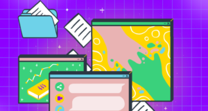 A header image with a purple background and a number of illustrated computer windows and files overlaid. One of the windows has an illustrated pair of hands reaching for each other.